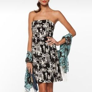 Lilly Pulitzer Dress Black White Late Night Toile